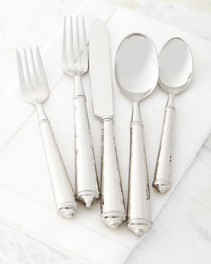 Leopardo Hammered Flatware, 5-Piece Place Setting